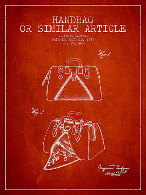 Pouch Drawing - Handbag Or Similar Article Patent From 1937 - Red by Aged Pixel
