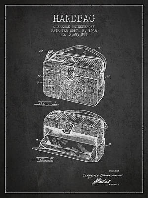 Pouch Drawing - Handbag Patent From 1936 - Charcoal by Aged Pixel