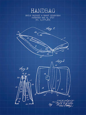 Pouch Drawing - Handbag Patent From 1937 - Blueprint by Aged Pixel