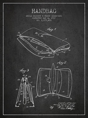 Pouch Drawing - Handbag Patent From 1937 - Charcoal by Aged Pixel