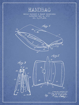 Pouch Drawing - Handbag Patent From 1937 - Light Blue by Aged Pixel