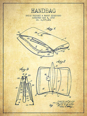 Pouch Drawing - Handbag Patent From 1937 - Vintage by Aged Pixel