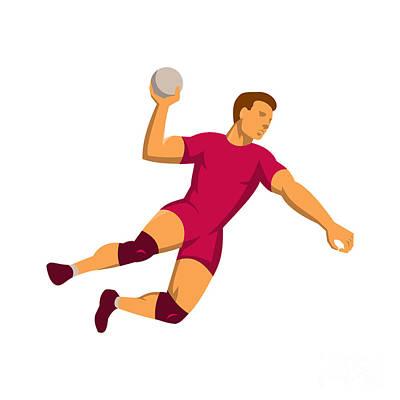 Scoring Digital Art - Handball Player Jumping Retro by Retro Vectors