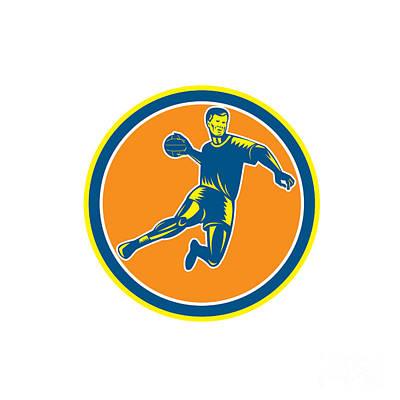 Scoring Digital Art - Handball Player Jumping Throwing Ball Circle Woodcut by Aloysius Patrimonio