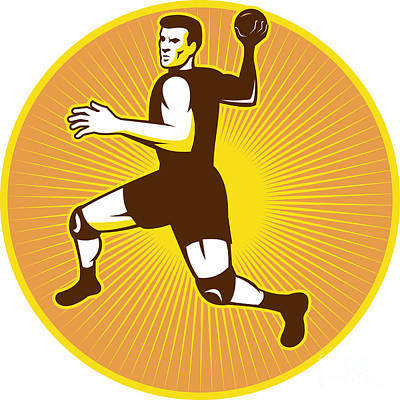 Handball Player Jumping Throwing Ball Scoring Retro Print by Aloysius Patrimonio
