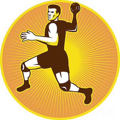 Scoring Digital Art - Handball Player Jumping Throwing Ball Scoring Retro by Aloysius Patrimonio