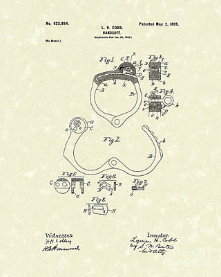 Drawing - Handcuff 1899 Patent Art by Prior Art Design