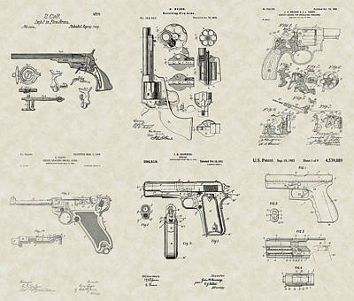 Colt 45 Drawing - Handguns Patent Collection by PatentsAsArt