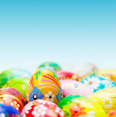 Egg Photograph - Handmade Easter Eggs On Blue Sky by Michal Bednarek