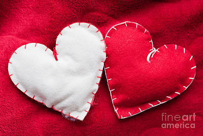 Hug Photograph - Handmade Plush Red Hearts Couple On Soft Blanket by Michal Bednarek