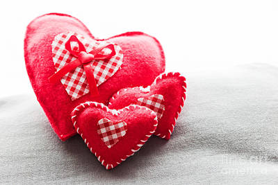 Fluffy Photograph - Handmade Plush Red Hearts On The Soft Pillow by Michal Bednarek