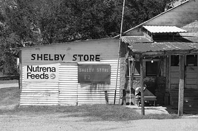 Photograph - Handpainted Sign Shelby Store B W by Connie Fox