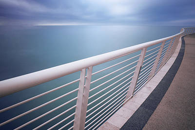 Line Movement Wall Art - Photograph - Handrail Above Sea by Damiano Serra