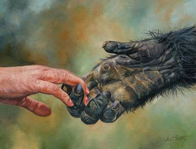Ape Painting - Hands by David Stribbling
