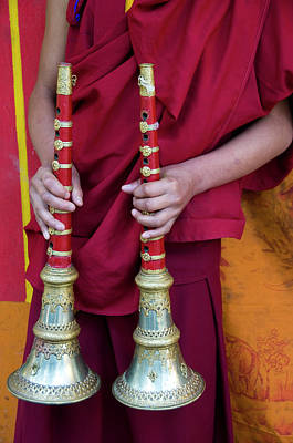 Hands Of Young Monk Holding Ceremonial Art Print