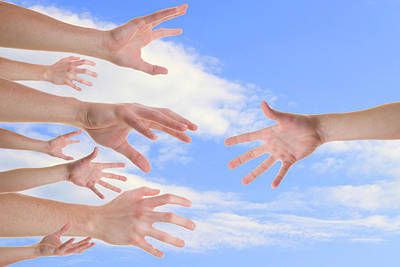 Hands Reaching For A Helping Hand Print by   CursedSenses