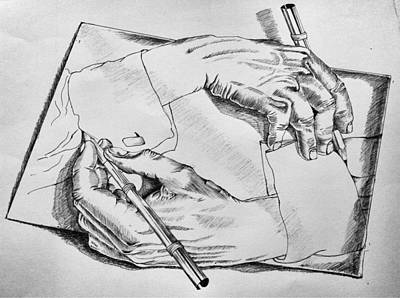 Rain Drawing - Hands by Sumit Jain