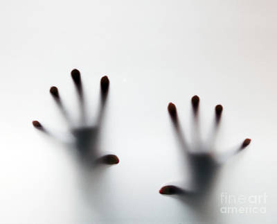 Violence Photograph - Hands Touching Frosted Glass by Michal Bednarek