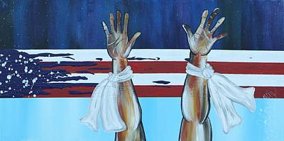 Justice Painting - Hands Up Dont Shoot by Aliya Michelle