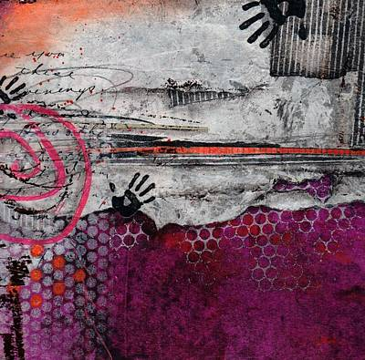 Orange Mixed Media - Hands Up by Laura  Lein-Svencner