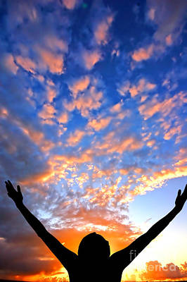 Backlight Photograph - Hands Up To The Sky Showing Happiness by Michal Bednarek