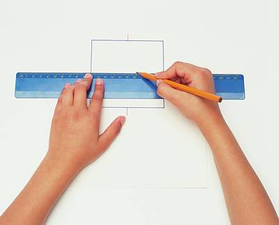 Hands Using Pencil And Ruler Art Print