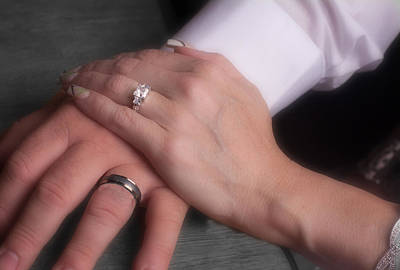 Photograph - Hands With Wedding Rings by Gunter Nezhoda