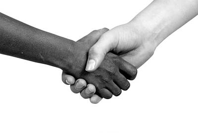 Handshake Black And White Art Print