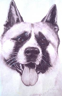 Art Print featuring the drawing Handsome Akita by Lucia Grilletto