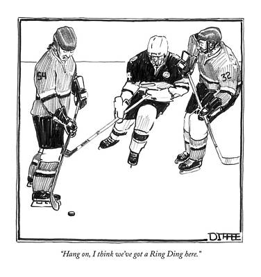 Player Drawing - Hang On, I Think We've Got A Ring Ding Here by Matthew Diffee