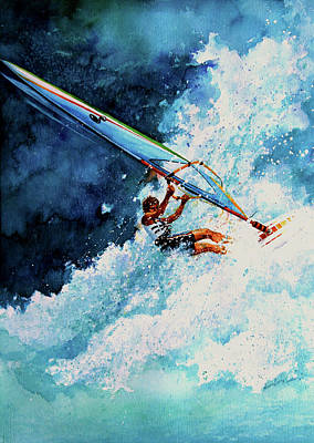 Surfing Art Painting - Hang Ten by Hanne Lore Koehler
