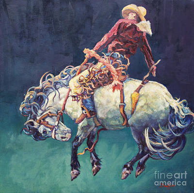 Bronc Painting - Hang Time by Patricia A Griffin