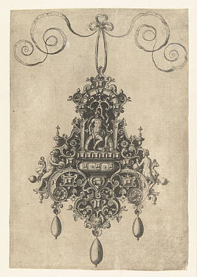 Deity Drawing - Hanger With Armored Seated Deity, Print Maker Anonymous by Anonymous And Hans Collaert I And Philips Galle