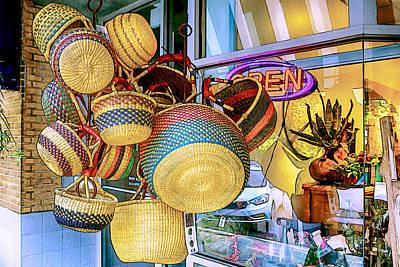 Mixed Media - Hanging Baskets by John Haldane