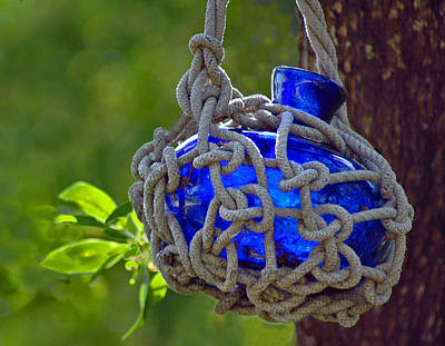 Photograph - Hanging Blue Bottle Garden Art by Ginger Wakem
