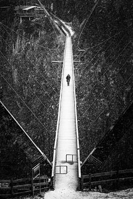 Photograph - Hanging Bridge Black And White Stark Contrast by Matthias Hauser