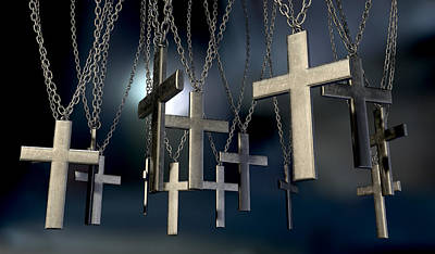 Deliverance Digital Art - Hanging Crucifixes Far by Allan Swart