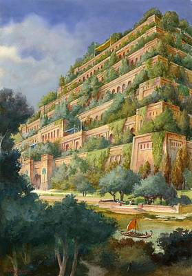 Babylon Drawing - Hanging Gardens Of Babylon by English School