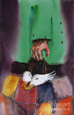 Geese Painting - Hanging  In by Val Byrne