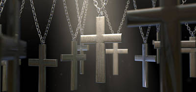 Suspended Digital Art - Hanging Metal Crucifixes  by Allan Swart