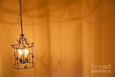 Photograph - Hanging Metal Light Fixture. by Don Landwehrle