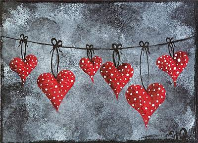 Oddball Art Painting - Hanging On To Love by Oddball Art Co by Lizzy Love