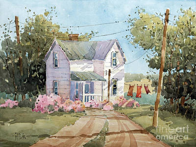 Clothesline Painting - Hanging Out In Illinois by Joyce Hicks