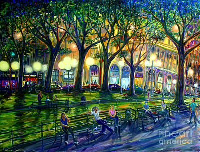 Greenwich Village Painting - Hanging Out In Washington Square Park by Arthur Robins