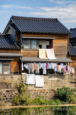 Hanging Out To Dry - Laudry Day In Japan Art Print