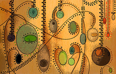 Colored Pencil Abstract Mixed Media - Hanging Ovals by Mary Bedy