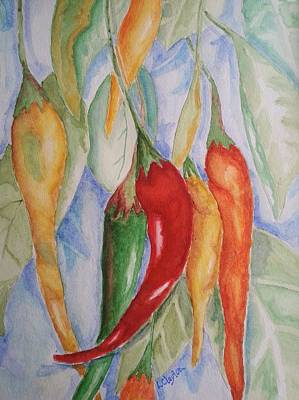 Pepper Painting - Hanging Peppers by Lynette Clayton