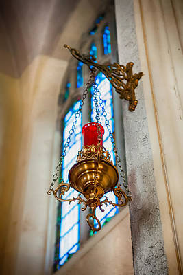 Photograph - Hanging Red And Gold Lantern by Sennie Pierson
