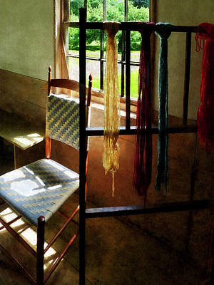 Chair Photograph - Hanging Skeins Of Yarn by Susan Savad