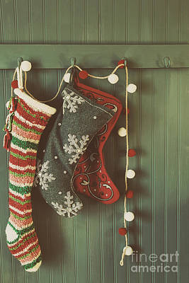 Hanging Stockings Ready For Christmas Art Print by Sandra Cunningham